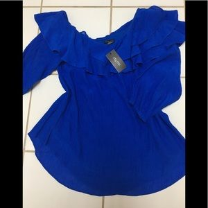 NWT City Chic plus size 14 royal blue ruffle top